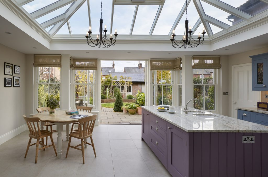 Beautiful roof lantern allows natural light to flood into the kitchen below