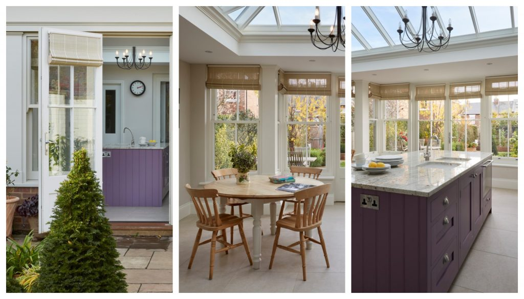 Lilac kitchen cabinet in contrast with the natural greens outside