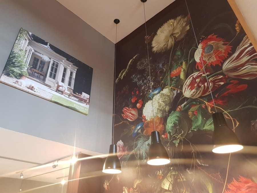 Our oversized feature wall displays a full-length print of De Heems 1660 masterpiece, Vase of Flowers
