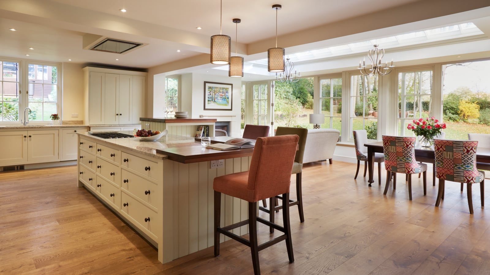 open plan orangery with kitchen