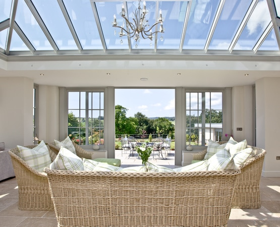 Timber Orangery with lovely view