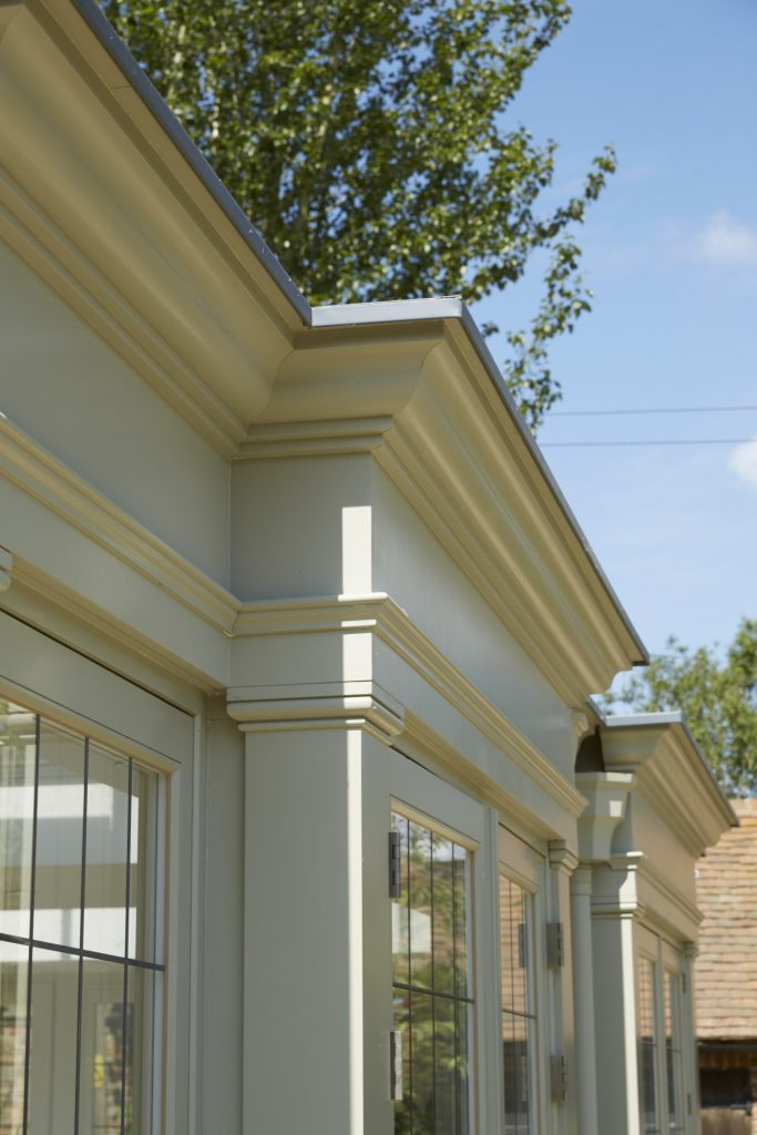 modern building materials, used to build traditional orangery